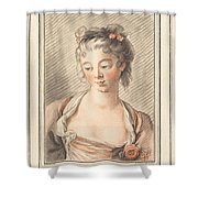 Bust Of A Young Woman Looking Down Shower Curtain