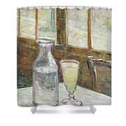 Cafe Table With Absinthe Shower Curtain