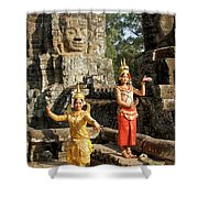 Cambodian Dancers At Angkor Thom Shower Curtain
