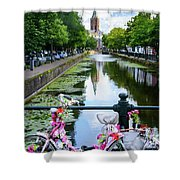 Canal And Decorated Bike In The Hague Shower Curtain