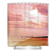 Cape May New Jersey, Sunset With Lighthouse In The Distance Shower Curtain