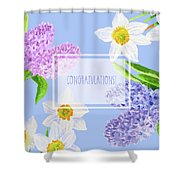 Card With Spring Flowers Shower Curtain