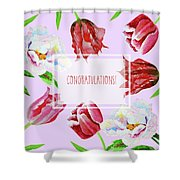 Card With Tulips And Peonies Shower Curtain