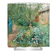 Carl Larsson, Garden Scene From Marstrand On The West Coast Of Sweden. Shower Curtain
