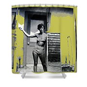 Carolyn Hastings Collage Historic Adobe Building Tucson Az 1967-2013 Shower Curtain