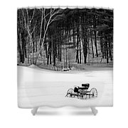 Carriage In A Field Of Snow Shower Curtain
