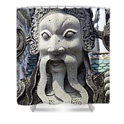 Carved Monk Statue Shower Curtain