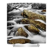 Cascading Water And Rocky Mountain Rocks Shower Curtain