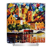 Castle By The River Shower Curtain