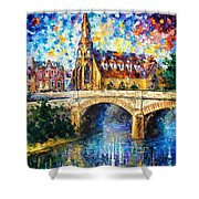Castle By The River - Palette Knife Oil Painting On Canvas By Leonid Afremov Shower Curtain