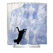 Cat Jumping From A Wall Shower Curtain