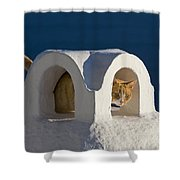 Cat On A Roof, Greece Shower Curtain