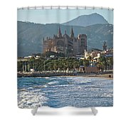Cathedral And City Beach With People  Shower Curtain