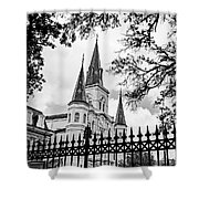 Cathedral Basilica - Square Bw Shower Curtain