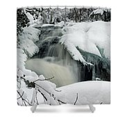 Cattyman Falls In Winter Shower Curtain