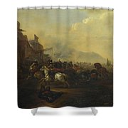 Cavalry Attacking A Fortified Place Shower Curtain