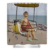 Caveman Above Beach Santa Cruz Boardwalk Shower Curtain