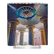 Ceiling Boss And Columns, Park Guell, Barcelona Shower Curtain