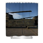 Ch-47 Chinook Helicopter On The Tarmac Shower Curtain