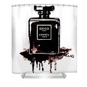 Chanel Noir Perfume Shower Curtain