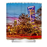 Charlotte City Skyline Early Morning At Sunrise Shower Curtain