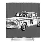 Checkered Taxi Cab Illustrastion Shower Curtain