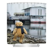 Cheerful Teddy Bear In Knitted Scarf Stand By The Riverside Beside The Port Shower Curtain