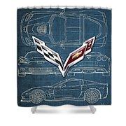 Chevrolet Corvette 3 D Badge Over Corvette C 6 Z R 1 Blueprint Shower Curtain