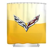 Chevrolet Corvette 3d Badge On Yellow Shower Curtain