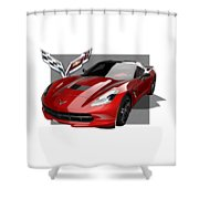 Chevrolet Corvette  C 7  Stingray With 3 D Badge  Shower Curtain