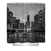 Chicago River Sunset Shower Curtain