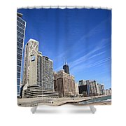 Chicago Skyline And Beach Shower Curtain