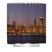 Chicago Skyline At Dusk Panorama Shower Curtain