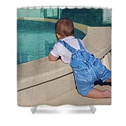 Child In A Denim Suit Sits Shower Curtain