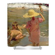 Children On The Seashore Shower Curtain by Joaquin Sorolla y Bastida