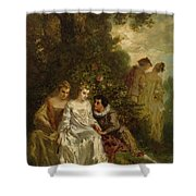 Chivalric Scene In A Park Shower Curtain
