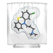 Chlorpromazine, Molecular Model Shower Curtain