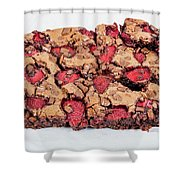 Chocolate Cake With Strawberry On Porcelain Plate Shower Curtain