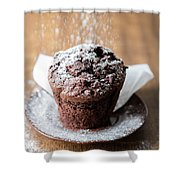 Chocolate Muffin With Powdered Sugar Shower Curtain