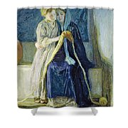 Christ And His Mother Studying The Scriptures Shower Curtain