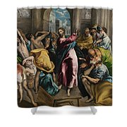 Christ Driving The Traders From The Temple Shower Curtain