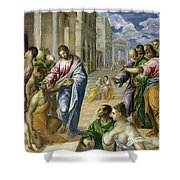 Christ Healing The Blind Shower Curtain