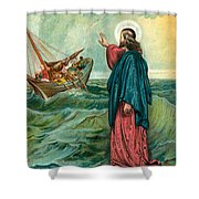 Christ Walking On The Sea Shower Curtain