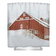 Christmas Barn Shower Curtain