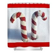 Christmas Candy Canes On Real Snow Shower Curtain