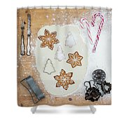 Christmas Interior With Sweets And Vintage Kitchen Tools Shower Curtain