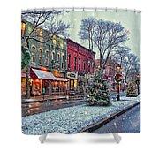Christmas On Main Street Shower Curtain