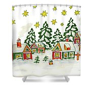 Christmas Picture In Green And Yellow Colours Shower Curtain