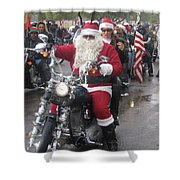 Christmas Toys For Tots Santa On Motorcycle Casa Grande Arizona 2004 Shower Curtain