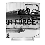 Chuck Yeager, Usaf Officer And Test Shower Curtain